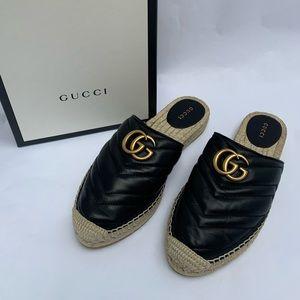 Gucci Black Leather Espadrille Double G Slides